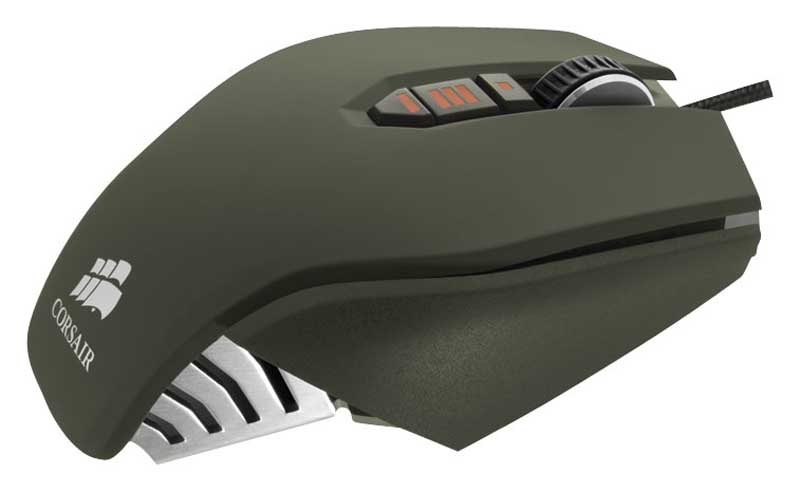 Corsair M65 Gaming Mouse Side Profile With a Whit Isolated Background.